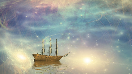 Sailing ship sails through the stars