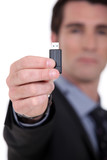Businessman with a usb key