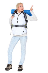 Woman carrying hiking backpack