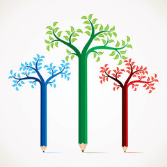 creative and colorful pencil tree design stock vector