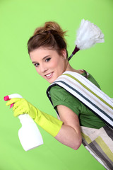 Foxy young cleaner