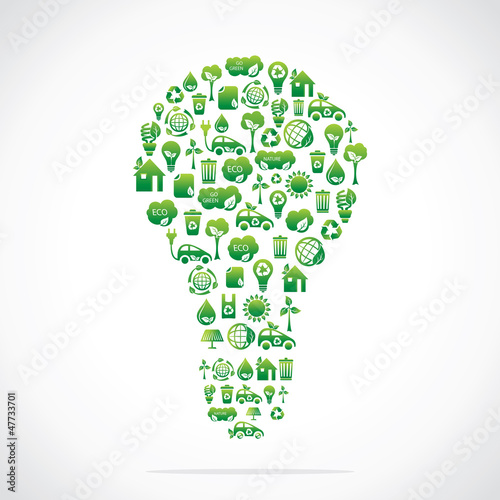 Bulb design with eco nature icons stock vector