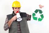 craftsman talking in loudspeaker showing recycling logo