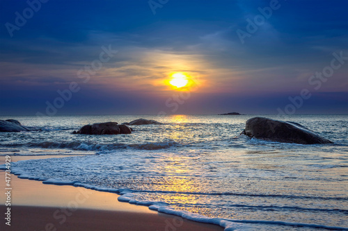 Sunset on Khao Lak beach in Thailand.