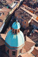 view from Asinelli Tower on via San Vitale in Bologna