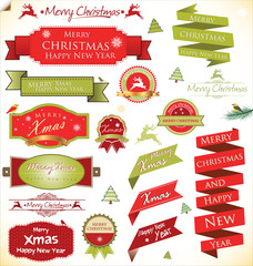 Christmas vintage labels set