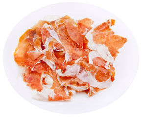 parma ham prosciutto crudo on plate