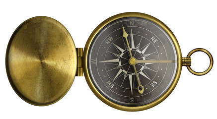 brass antique pocket compass with lid and black scale isolated o