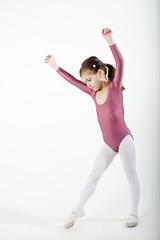 white school girl practicing in sport