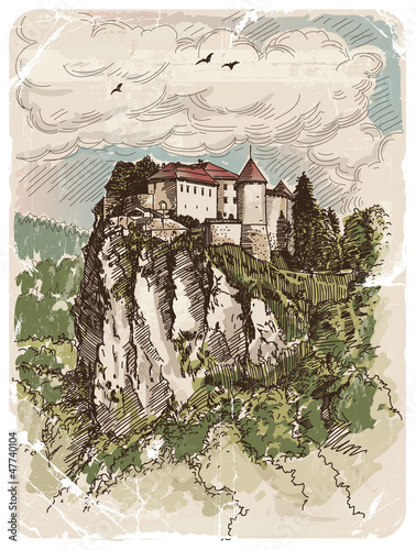 Vector drawing of a Bled castle in Slovenia