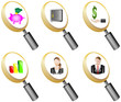 Finance and Banking magnifying glass icons