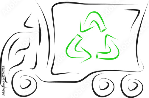 doodle recycle truck vector illustration