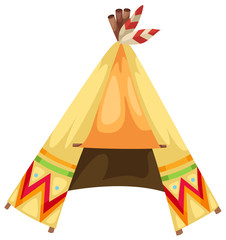 cartoon indians tepee vector