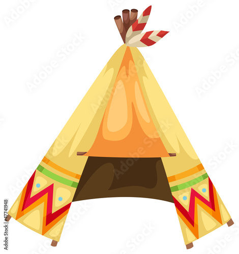 cartoon indians tepee vector