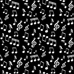 vector seamless pattern with music notes © Oksana