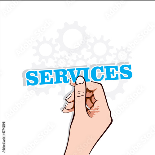 services text label in hand stock vector