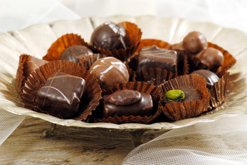 Assorted chocolate pralines in silver plate