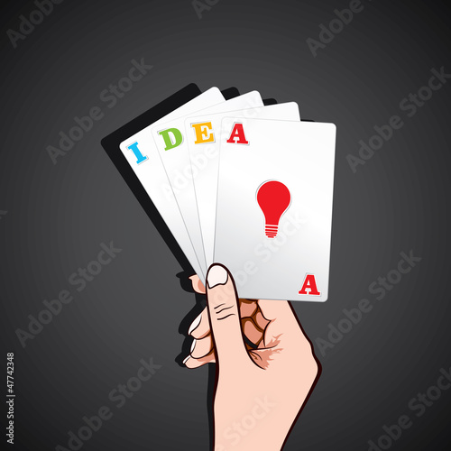 playing card with new idea concept stock vector