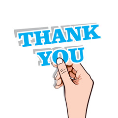 thank you message in hand stock vector