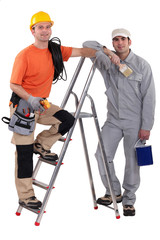 Painter and electrician by ladder