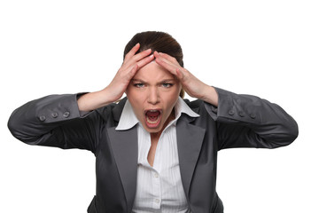 Stressed, screaming businesswoman