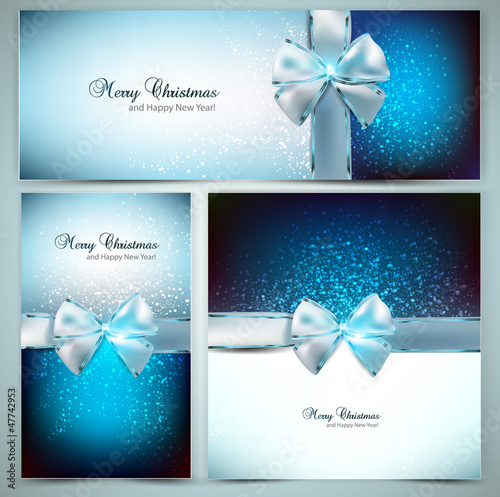 Elegant Christmas greeting cards with blue bows and place for te