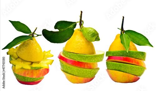 Bunte Fruchtkompositionen, isoliert vor weißem Hintergrund