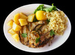 Grilled mackarel with rice and potatoes