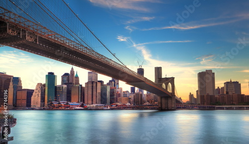 Papiers peints New York Pont de Brooklyn vers Manhattan, New York.