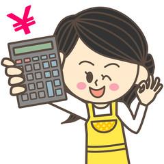 電卓を持つ主婦