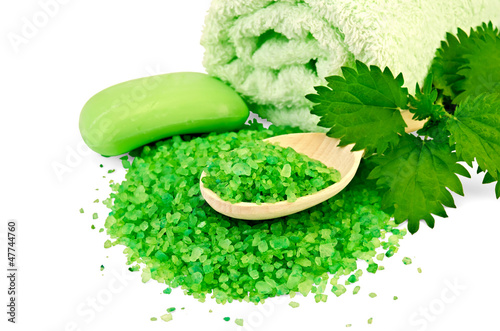 Salt and soap green with nettle