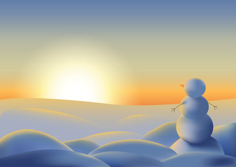Snowman looking at the sunset