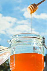 Fresh Honey in glass jars with spoon and sky background.
