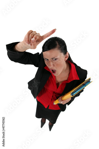 angry businesswoman shouting