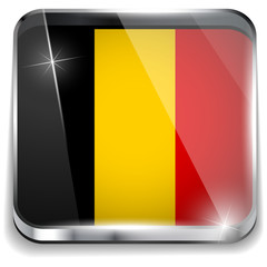 Belgium Flag Smartphone Application Square Buttons