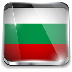 Bulgaria Flag Smartphone Application Square Buttons