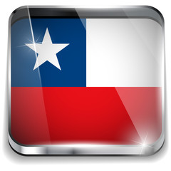 Chile Flag Smartphone Application Square Buttons