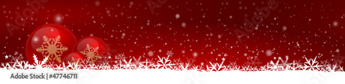 Red Christmas Banner with bubbles and snow