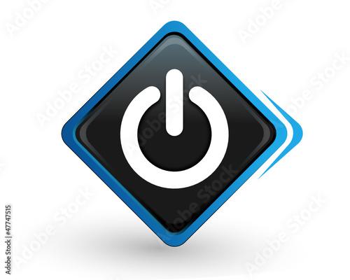 icône marche arret sur bouton carré bleu design