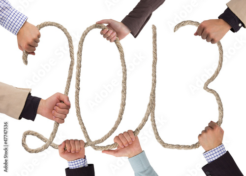 Hands holding rope forming year 2013