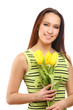 happy woman with yellow tulips over white background