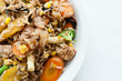 chicken stir fry with farm fresh vegetables and brown rice