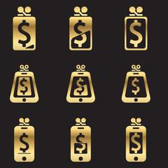 Set of account balance isons golden line