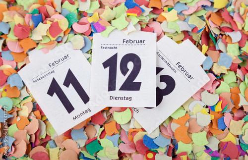 Konfetti mit Kalenderblatt Fasching 2013 VII