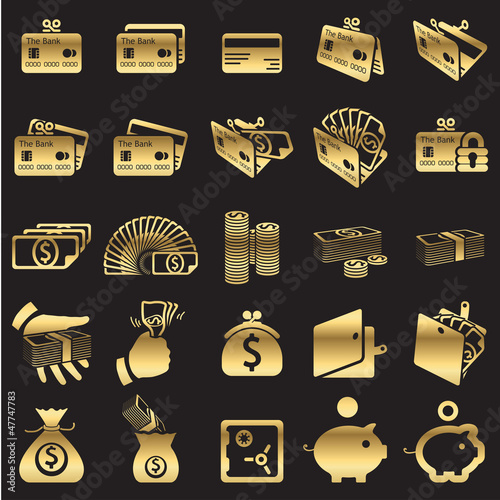 Set of money icons -golden line