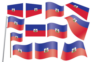 set of flags of Haiti vector illustration