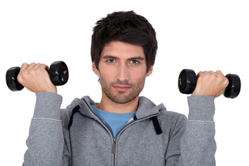 A man lifting weights.
