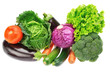 A set of colorful vegetables of cabbage, broccoli, zucchini and