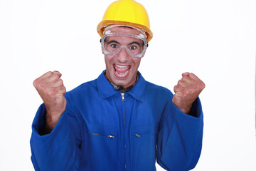 Ecstatic construction worker