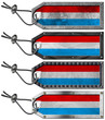 Luxembourg Flags Set of Grunge Metal Tags
